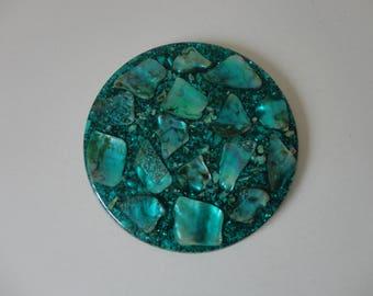 VINTAGE abalone SHELL in green resin TRIVET