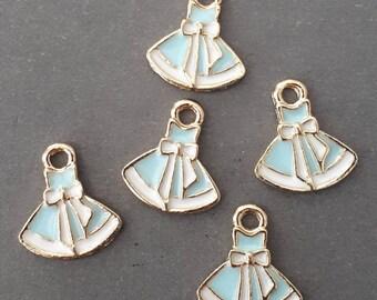 10pcs-enamel blue skirt Charm -You pick the color