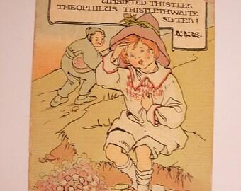 Vintage Artist Signed  KE Victorian Color Postcard  Cowderoy Boy with Riddle
