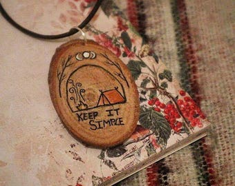 Handpainted Wooden Simple Living Necklace