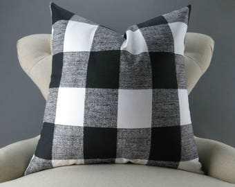 Black Plaid Pillow Cover -MANY SIZES- Big Check Pattern, Euro Sham, Lumbar, Decorative Throw, Buffalo Plaid, Anderson Black Premier Prints