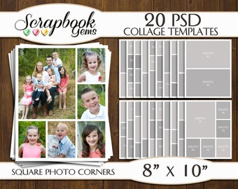 """TWENTY (20) 8"""" x 10"""" Digital Photo Collages / Storyboard Templates, PSD Format, Photo Scrapbook Template Collage"""