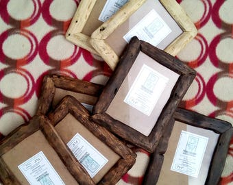 "Rustic/driftwood style frames in locally sourced,recycled pine in medium dark or very dark wax finish.To fit 7""x5"""