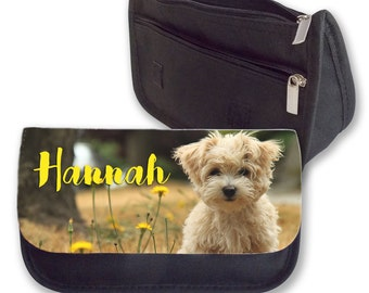 Personalised Dog Westie Puppy Add your Name Pencil Case Make Up Bag Back To School