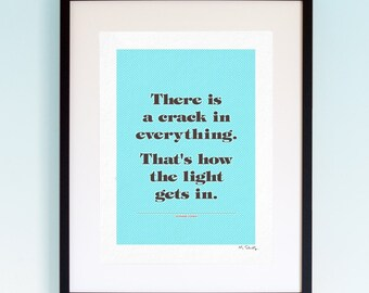 Leonard Cohen - Anthem, Song Lyrics, Music Print, Music Lyric Gift, Music Typography, Printed Lyrics, Lyric Poster Design, A4, A3.
