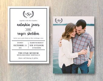 Modern Wedding Invitation Card - Photo Wedding Invitation Printed Wedding Invitations Modern Monogram Invitation - Printable DIY