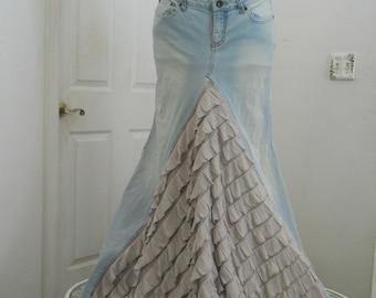 Belle Époque ruffled jean skirt almond beige taupe  bohemian mermaid beach wedding  Renaissance Denim Couture Made to Order
