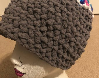 Messy Bun / Ponytail Hat - Super Soft Gray with Rainbow Flowers
