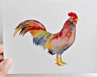 Rooster Greeting Card, Art Card, Watercolor Greeting Card, Blank Card