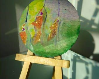Embellished Mini Wood Panel Painting