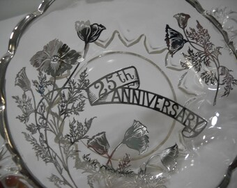 Vintage Silver Overlay Glass Candy Dish Bowl Handled 25th Anniversary Poppy Free Shipping