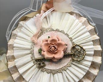Floral Key paper rosette/ Paper medallion/Decorative rosette