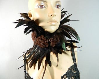 brown Feather Necklace Choker Gothic Burlesque Fetish Travesty Ruffle Collar Steampunk Larp Con Wedding Marriage Corset Corsage