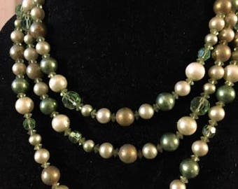 Vintage Opera Length Shades of Green and White Pearls and Crystal Necklace