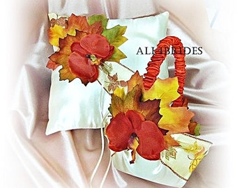 Fall leaves Persimmon and Burnt Orange wedding ring pillow and flower girl basket.