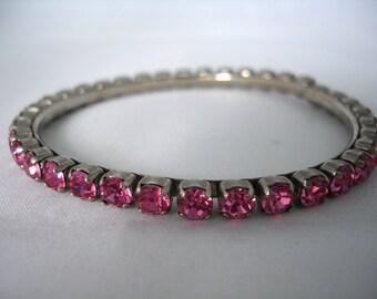Pink Rhinestones Crystal Bangle - Vintage - Rose - Retro - 90's - Fashion Jewelry - Bling Bling