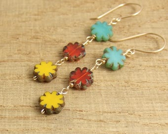 Earrings with Blue, Red and Yellow, Czech Glass Flower Beads Wire Wrapped with 14k Gold Filled Wire GHE-30