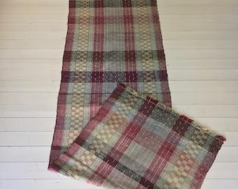 Vintage Swedish Rag Rug in Colored Stripey Rag Rug Runner Upcycled 1930s Floor Cover European Interior Antique