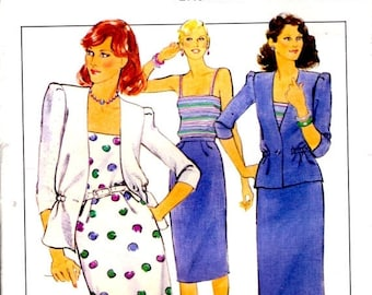 """ON SALE On Sale - 1980s Style Sewing Pattern No 3058 for Womens Jacket, Skirt and Top  Size 12   Bust 34"""". Uncut, Factory Folded"""