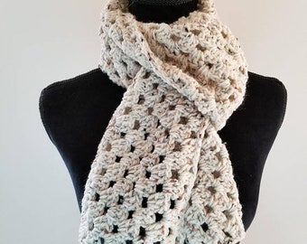 10.00 OFF Scarf - Crochet Scarf, Beige Scarf, Handmade Scarf, Neckwarmer, Chunky Scarf, Unisex Scarf, Gift for Her, Gift for Him