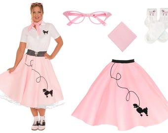 4 pc 50's Adult POODLE SKIRT Outfit