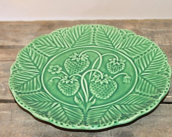 Vintage Strawberry Embossed Plate from Portugal by Bordallo Pinheiro