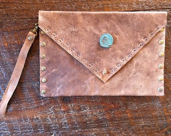 Elk leather clutch