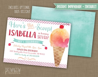 INSTANT DOWNLOAD! Printable Ice Cream Birthday Party Invitation // Ice Cream Party PDF