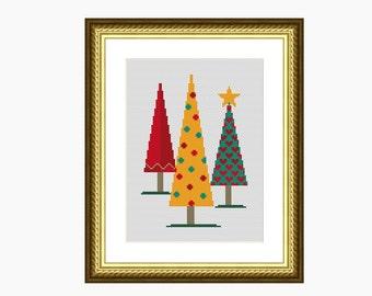 Cross stitch pattern, cross stitch modern, MODERN CHRISTMAS TREES cross stitch chart - Instant download pdf