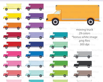 Moving Truck or Truck Icon Digital Clipart in Rainbow Colors - Instant download PNG files - PLUS white icon