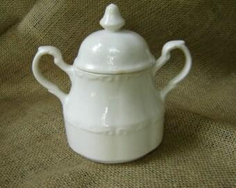 Vintage Ironestone Sugar Bowl Colonial England  Farmhouse Chic