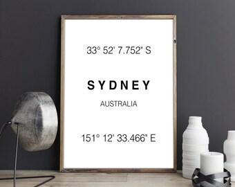 Sydney Print, Sydney Coordinates, Art Print, Australia, Art, Sydney, Typographie, Wall Decor, Poster, Printable Art, Digital Download, Gift