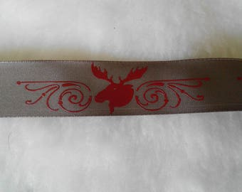 1 meter Ribbon 25mm Brown and Red reindeer