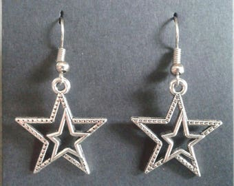 Earrings star silver color