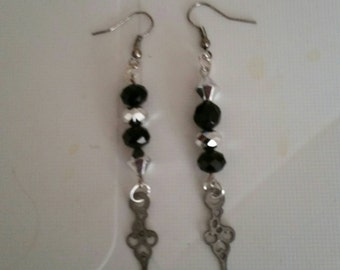 Silver bead and charm earrings