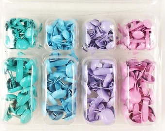 140 colored Brads for scrapbooking scrapbook decoration decorating shipping brackets blue purple pink Turquoise (pastel colors version 2.)