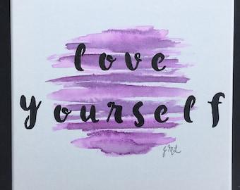 Love Yourself 10x10 Watercolor Canvas