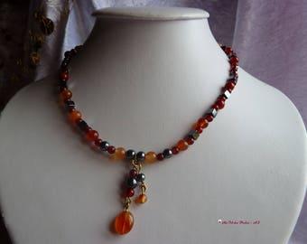 Genuine HEMATITE gemstones and CARNELIAN necklace