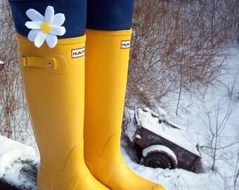 SLUGS Fleece Rain Boot Liners Solid Navy with Daisy on the Cuff, Fall Winter Fashion, Boot Cuff, Fleece Tall Socks (Sm/Med 6-8 Boot)