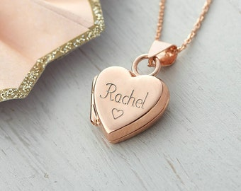 Personalised Rose Gold Heart Locket Necklace (HBN88 / 11R)