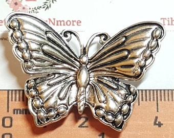 2 pcs per pack 43x24x22mm 13mm 2 strands Spacer Butterfly Charm Antique Silver Finish Lead free Pewter