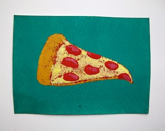 """Pizza Time #76 (ARTIST TRADING CARDS) 2.5"""" x 3.5"""" by Mike Kraus"""