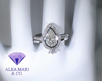 Moissanite and Diamond Bridal Set | 14kt White Gold | Size 6 | In Stock | Video