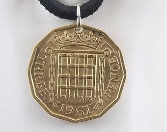 England Coin Necklace, 3 Pence, Coin Pendant, Three Pence, Leather Cord, Mens Necklace, Womens Necklace, 1961, 1967