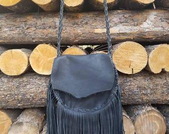 Large thick black leather Fringe crossbody purse