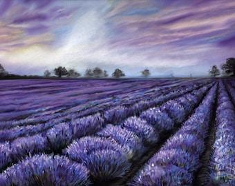 Lavender Fields - Original Pastel Painting by artist Valorie Sams