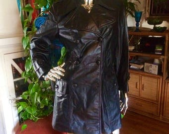 Vintage 70s NWT Leather Coat double breasted by Imperial