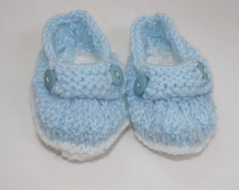 Hand Knitted Blue Deck Shoes for Baby Boy // Size 0 - 4 Months // Cute Baby Gifts // Baby Boy Clothing // Baby Shower Gifts