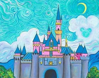 Disney Art Print Sleeping Beauty Castle at Disneyland