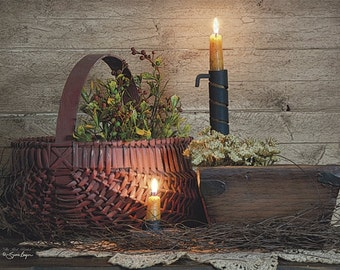 Primitive/Country Wall Decor,Baskets,Candle,Wooden Art Plaque,16x12